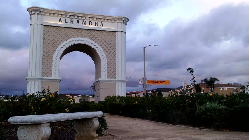 Alhambra, California - December, 2014 - Day time shot of the Alhambra Gateway arch.