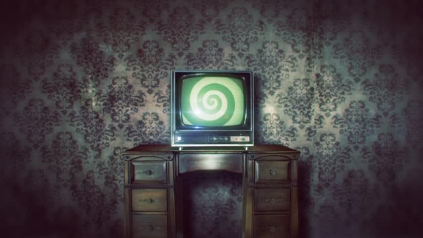 retro tv with hypno spiral