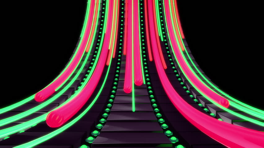 Abstract audio visualizer sliding equalizer tubes. High definition motion background for music videos, broadcast, television, film, editing, live visuals, VJ loops, youtube shows, art installations.
