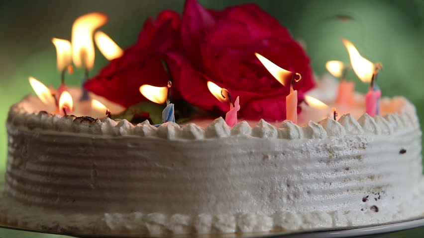 focus on the cake with candle burning down and a flower - HD stock video clip