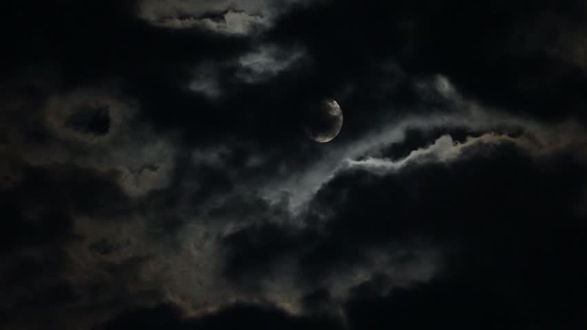 Moon and moving clouds. | Shutterstock HD Video #8435266