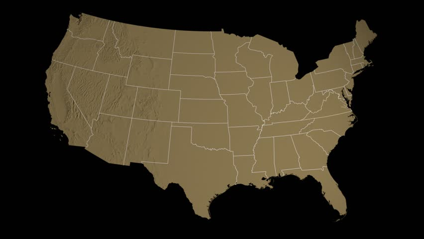USA - Virginia state (Richmond) extruded on the elevation map of the United States in the Azimuthal Equidistant projection, isolated on black. Elements of this image furnished by NASA. | Shutterstock HD Video #8436175