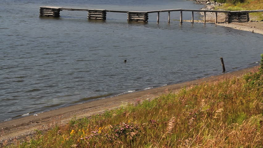 Very old wooden dock stretches into water along beach  - HD stock footage clip