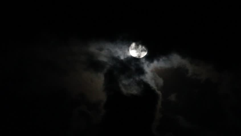 Full moon behind clouds at night | Shutterstock HD Video #8454832