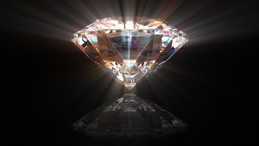 beautiful rotating diamond with reflection over a black background  all parts are seamless loop