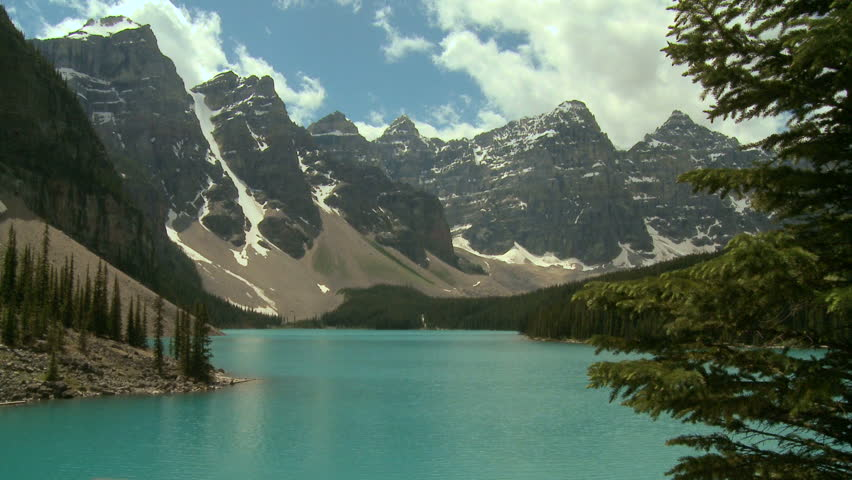 Beautiful Moraine Lake in the Canadian Rockies   Shutterstock HD Video #850192