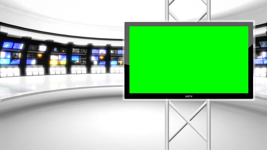 Modern, clean news / virtual news studio background.  This background is designed to be used as a green screen background.