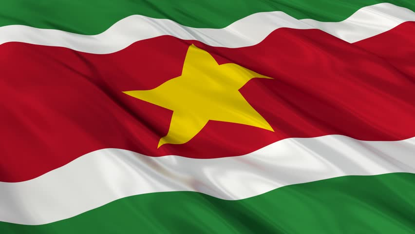 Flag of Suriname waving in the wind. Seamless looping. 3d generated. - HD stock footage clip