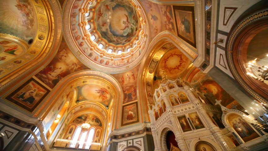 panning of ceiling of orthodox the Cathedral of the Redeemer in Moscow, Russia