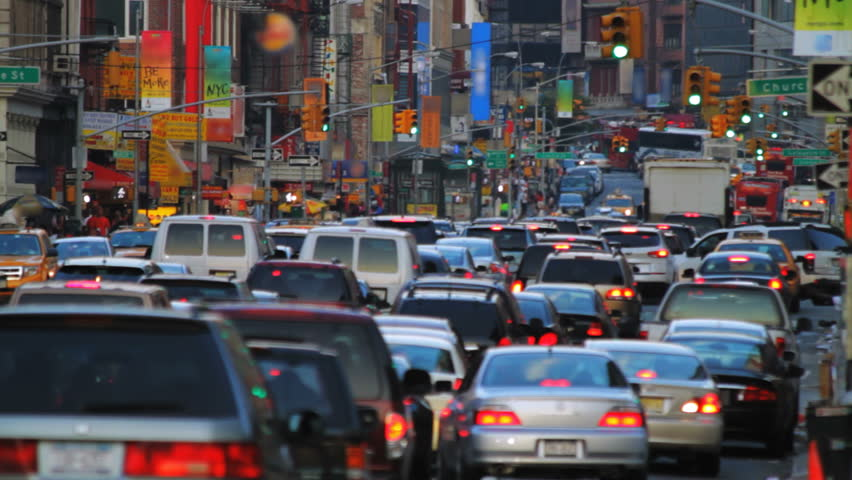 New York street, rush hour  - HD stock video clip