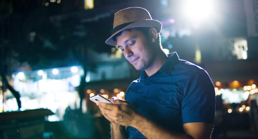 Handsome Man Typing Smartphone Urban Downtown Night Lights Communication Technology 4G Reception Texting Sms App Travel Application Social Network Blogger Uhd 4K