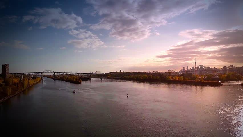 Aerial Footage of Montreal and Jacques-Cartier bridge city in Quebec, Canada during Autumn   Shutterstock HD Video #8626516