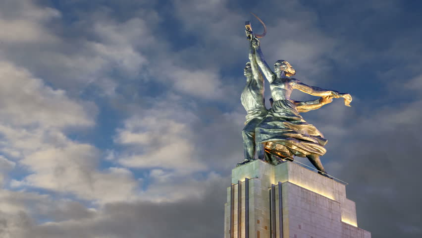 Animation: Famous soviet monument Rabochiy i Kolkhoznitsa ( Worker and Kolkhoz Woman or Worker and Collective Farmer) of sculptor Vera Mukhina, Moscow, Russia. Made of in 1937  - HD stock video clip