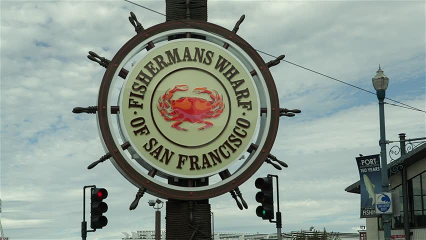 SAN FRANCISCO, CALIFORNIA, USA - SEPTEMBER 2013: Fisherman's Wharf sign in San Francisco, California. - HD stock video clip