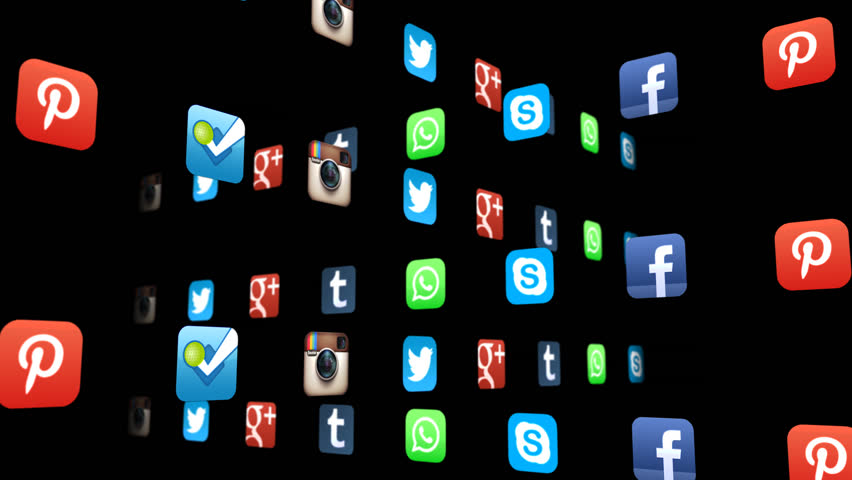 NYC, NEW YORK, UNITED STATES - CIRCA JANUARY, 2015: Seamless animation loop of popular social media app icons with Alpha channel
