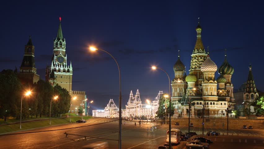 The Blessed Vasily church and Kremlin at night. Time lapse.  - HD stock video clip