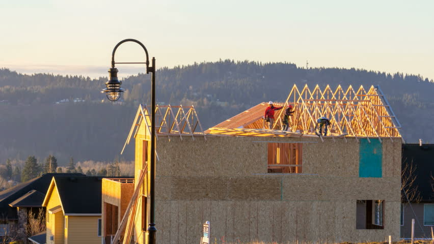 Time Lapse Movie of Real Estate Housing Construction with Workers Framing the Roof 1920x1080 - HD stock video clip