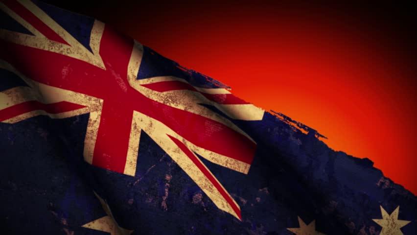Australia Flag Waving, old, grunge look sunset