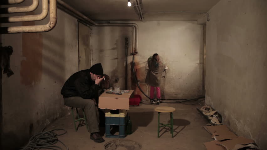 kidnapping scene in dark basement two kidnappers hijacking and bring