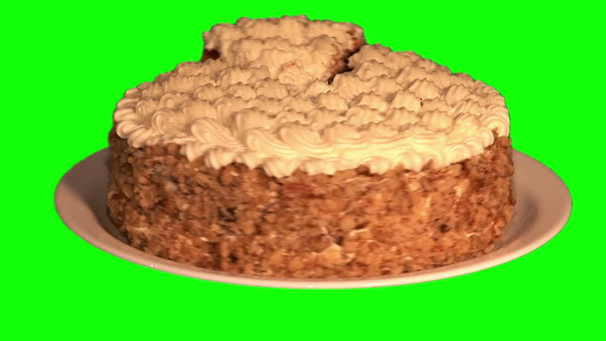 Hd Images Of Big Cake : Big Cake With Cream And Crushed Nuts On Plate Rotating On ...