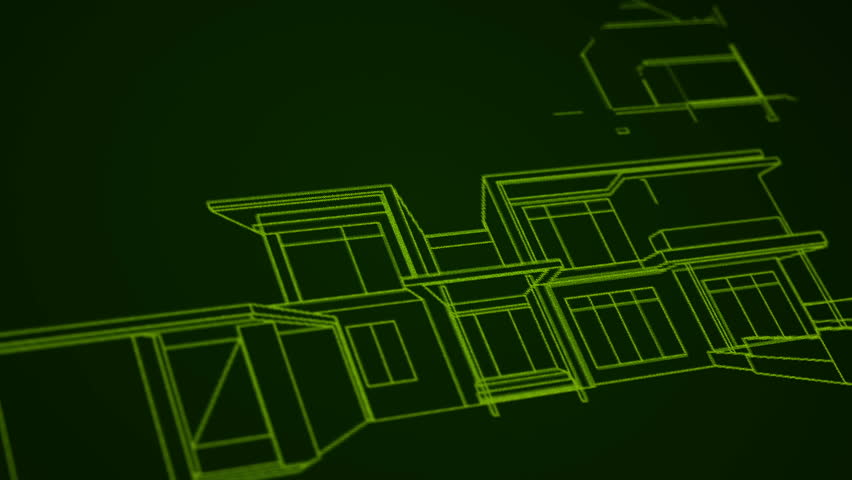 Architecture house plan background. Neon animation. Writing on green background. | Shutterstock HD Video #8738575