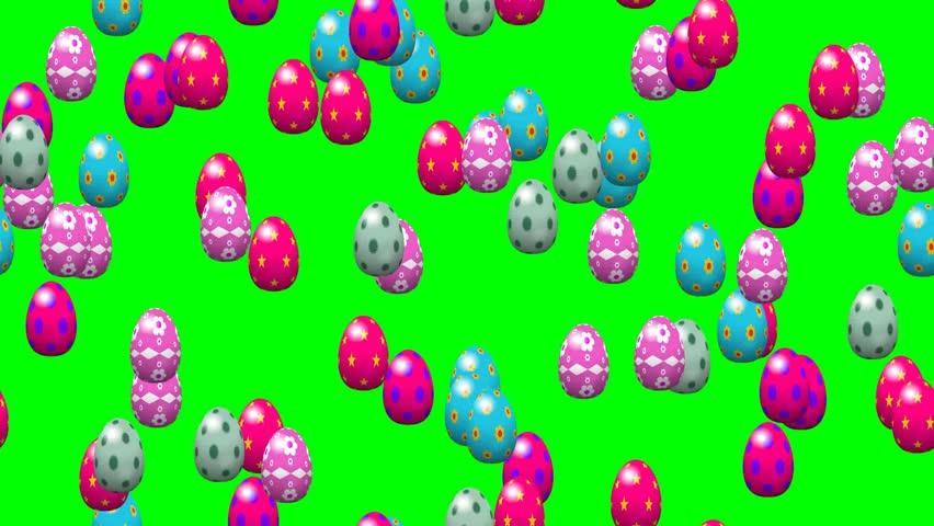 Falling easter eggs seamless loop video green screen - HD stock video clip