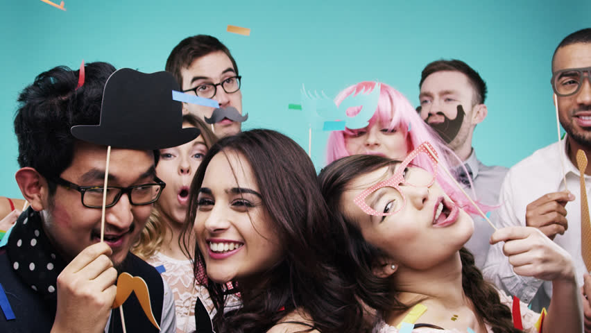 Multi racial group of funny people celebrating slow motion party photo booth Red Epic Dragon | Shutterstock HD Video #8762884