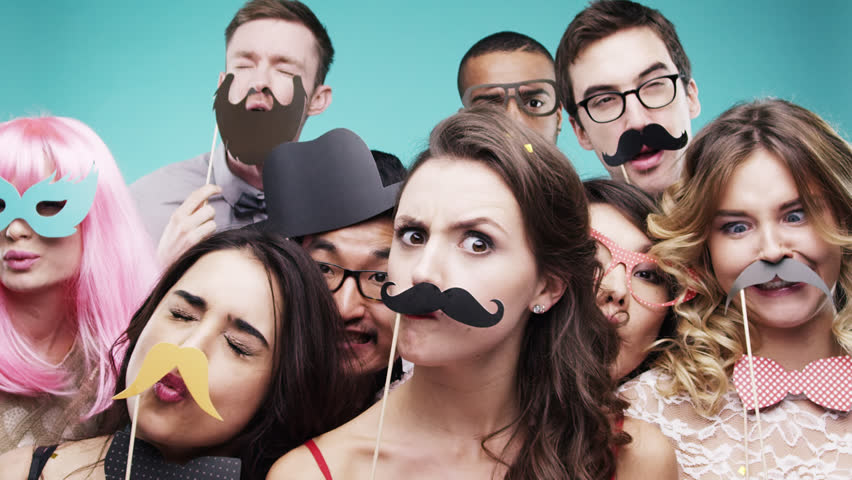Multi racial group of funny people celebrating slow motion party photo booth Red Epic Dragon | Shutterstock HD Video #8762893