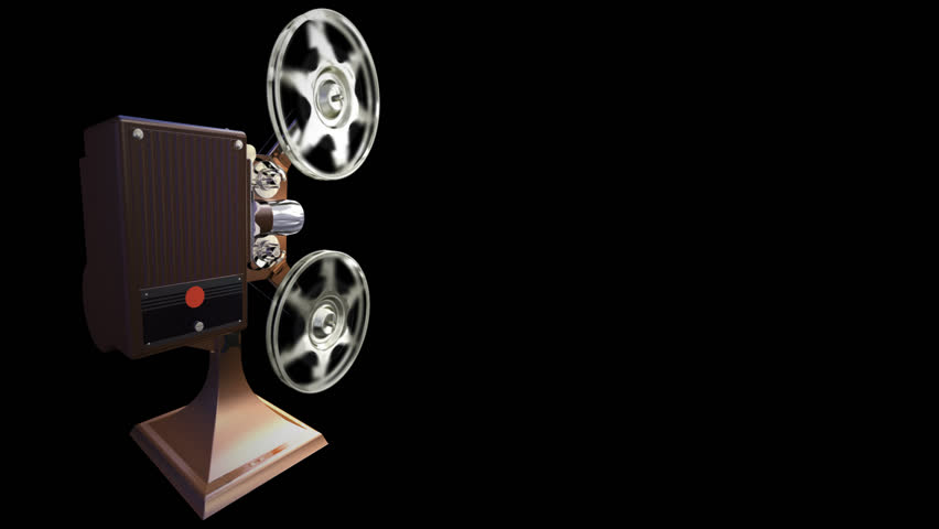 On  render of film projector show film on blue background - HD stock footage clip