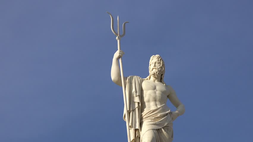 Detail of the Poseidon or Neptune statue,sculpture or monument in the Havana Bay