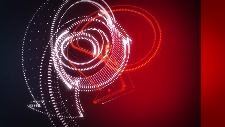 Abstract 3D Background Rotating Point Cloud White And Red Arrows