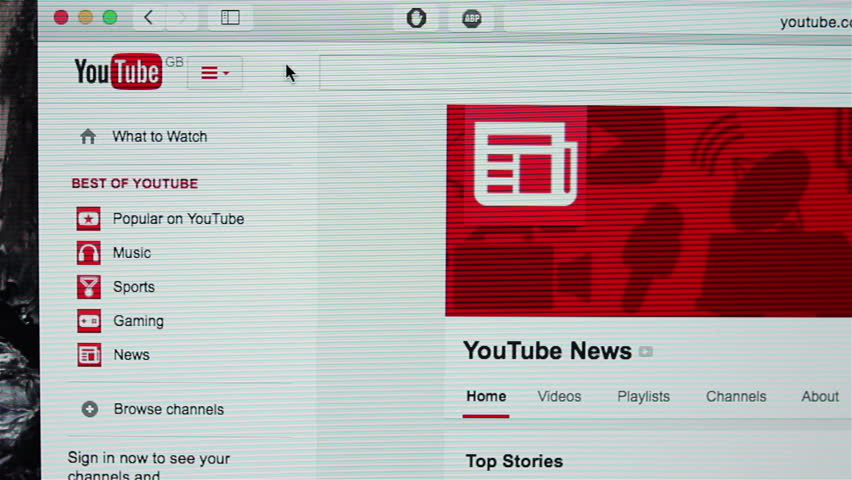 Galati, Romania, February 05, 2015: Closeup of YouTube search for political news. YouTube is the world's most popular video sharing website.