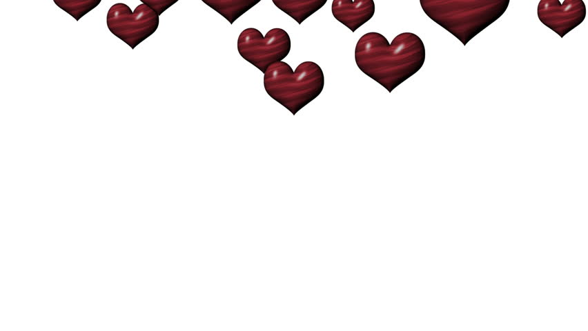 Animated Valentine's background with red striped hearts falling randomly downwards from the top of the screen, against a white backdrop.  | Shutterstock HD Video #8795689