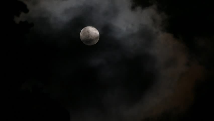Moon in the night sky over running clouds | Shutterstock HD Video #8824822