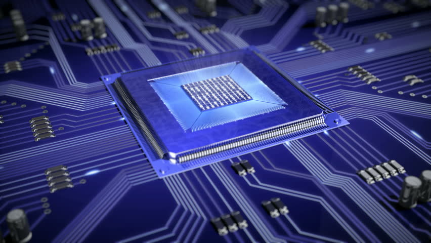 Circuit Board with moving electrons. CPU...