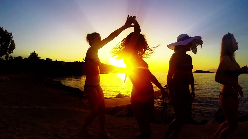 Group of Five Teenage Girls Dance and Celebrate On The Beach At Sunset, SLOW MOTION | Shutterstock HD Video #8836630