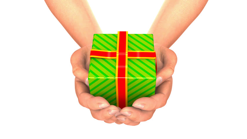 Hands With Gift  Zoom. Hands giving an opening gift, while camera zooms inside the box : with alpha matte  - HD stock footage clip
