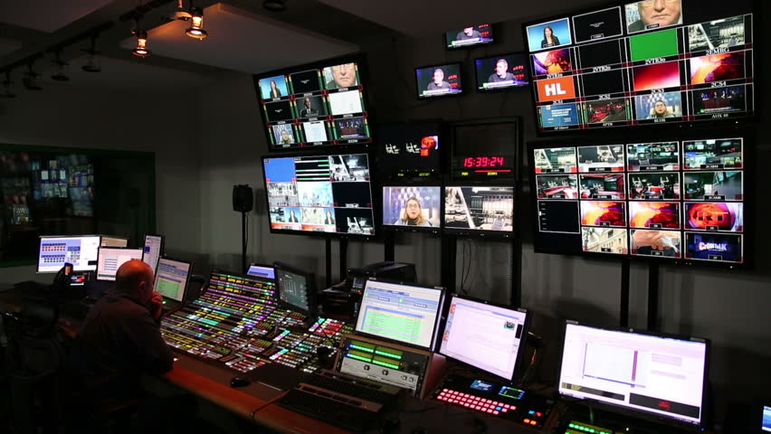 MOSCOW, RUSSIA - FEBRUARY 11, 2015: Many monitors in the control room studio TV channel. - HD stock footage clip