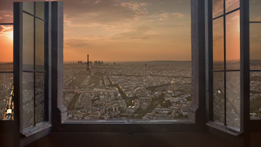 Paris skyline seen from an open window aerial day to night timelapse at the sunset to night city lighting up sparking eiffel tower panorama from montparnasse 4k | Shutterstock HD Video #8852560