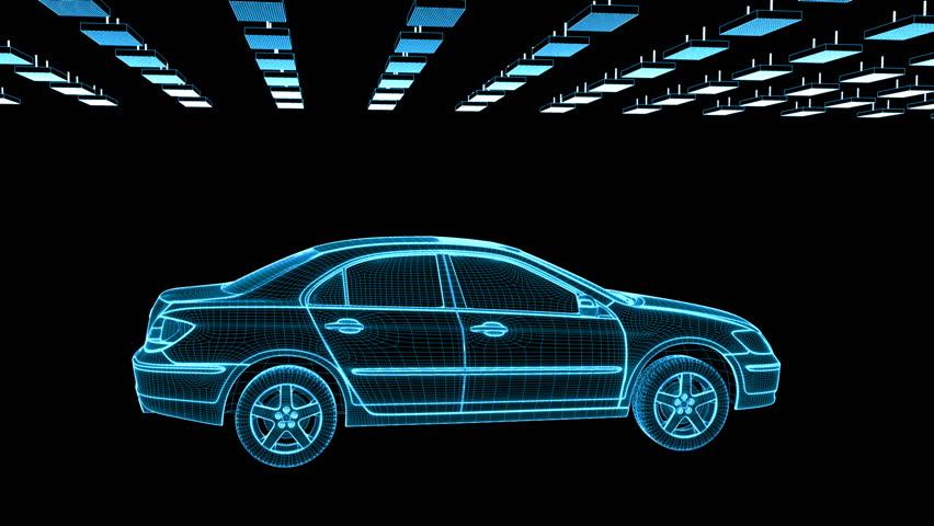 Car sketch rotating, components assembling, loop