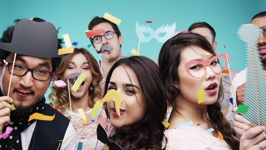 Crazy hipster geek mixed race people dancing slow motion party photo booth Red Epic Dragon