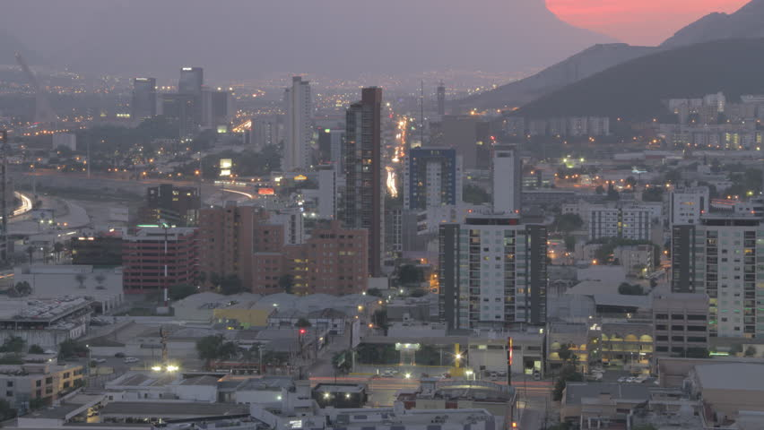 MONTERREY, NUEVO LEN, MEXICO - CIRCA 2015, TIME LAPSE 4K: Time Lapse of the City of Monterrey at night, circa 2015 in Monterrey Mexico