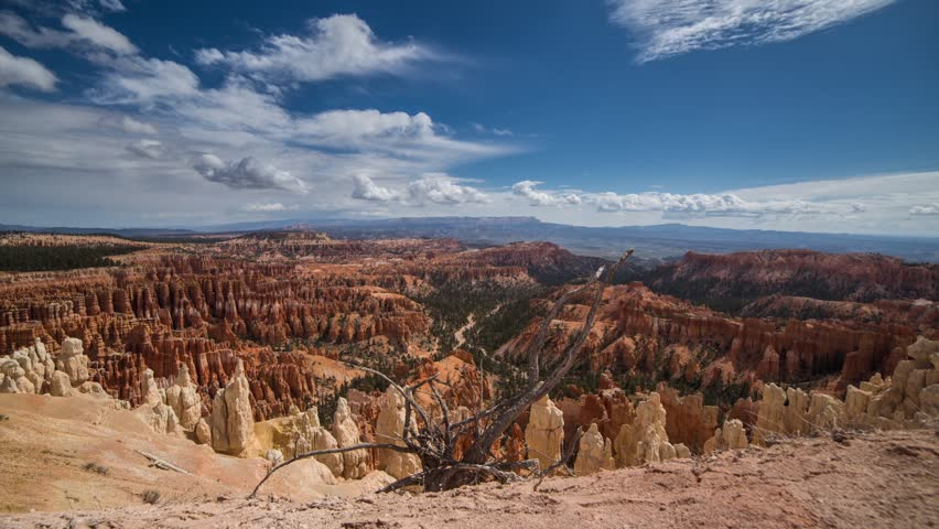 Time lapse shadow of clouds moving at Bryce Canyon National Park in Utah, United State