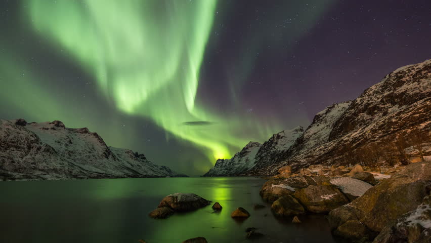 Aurora Borealis (Northern Lights) at Ersfjordbotn in Norway, Troms