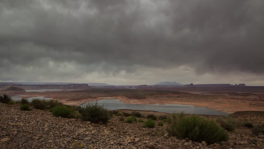Time lapse of storm clouds over a high desert at Page, Arizona.