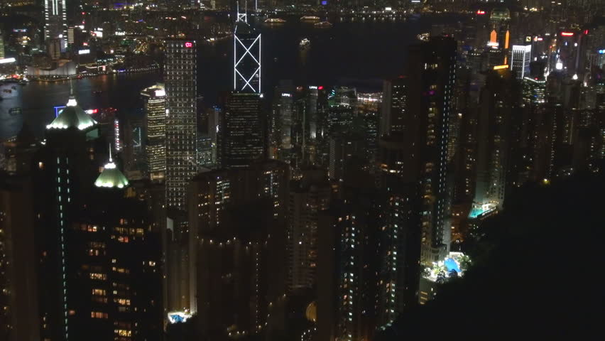 HONG KONG, MAY 15, 2012, Aerial view of modern skyscraper by night