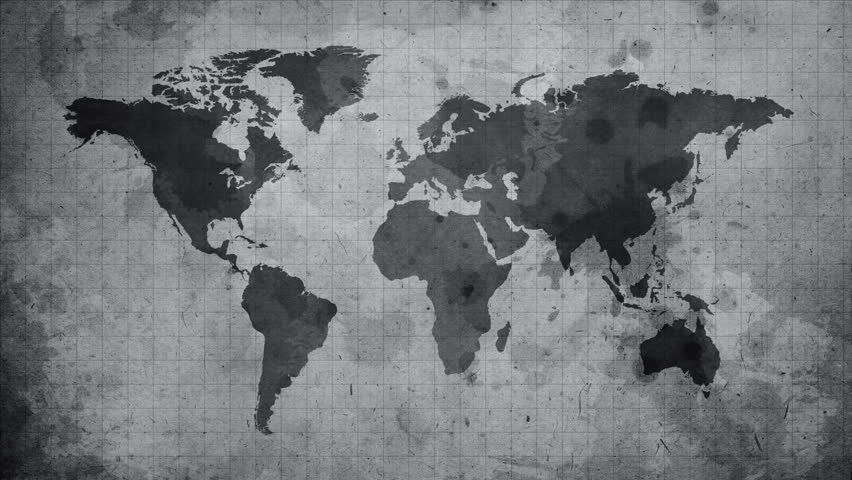 world map sketching looping animation  black and white  4k