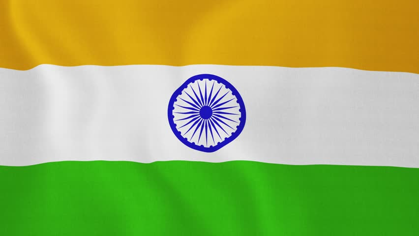 Indian Animated Flag Waving: Indian Flag Spinning Globe With Shining Lights