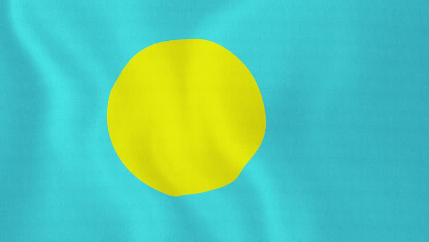 [loopable] Flag of Palau. Palauan official flag gently waving in the wind. Highly detailed fabric texture for 4K resolution. 15 seconds loop. Source: CGI rendering. Clip ID: ax738c - 4K stock footage clip