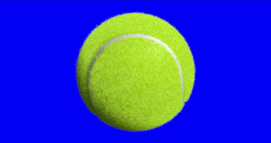 Tennis ball spinning on the blue screen background